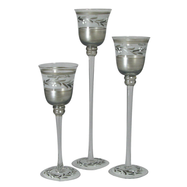 Pewter Vine Candlesticks Set/3