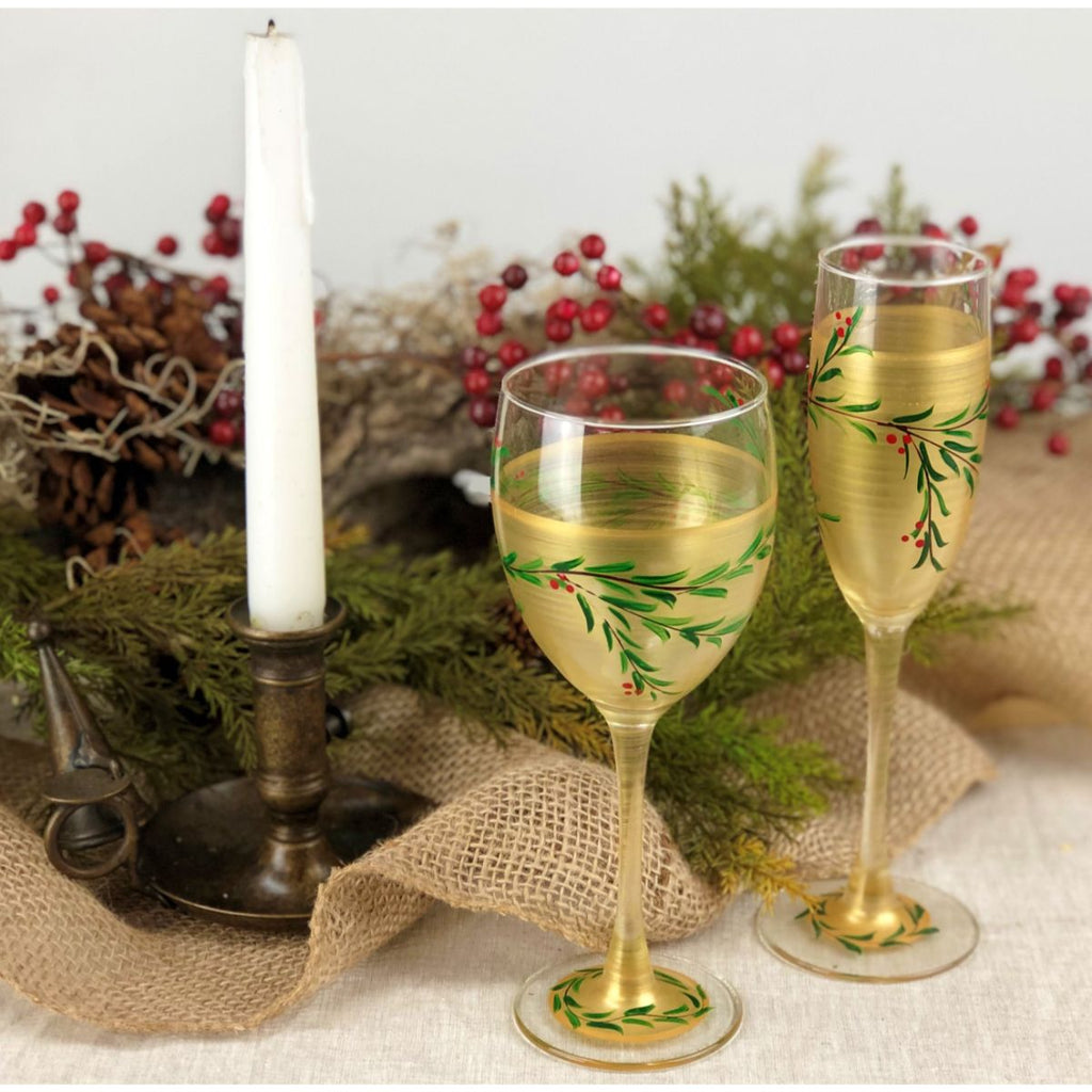 Winter Gold Garland Wine S/2 - Golden Hill Studio
