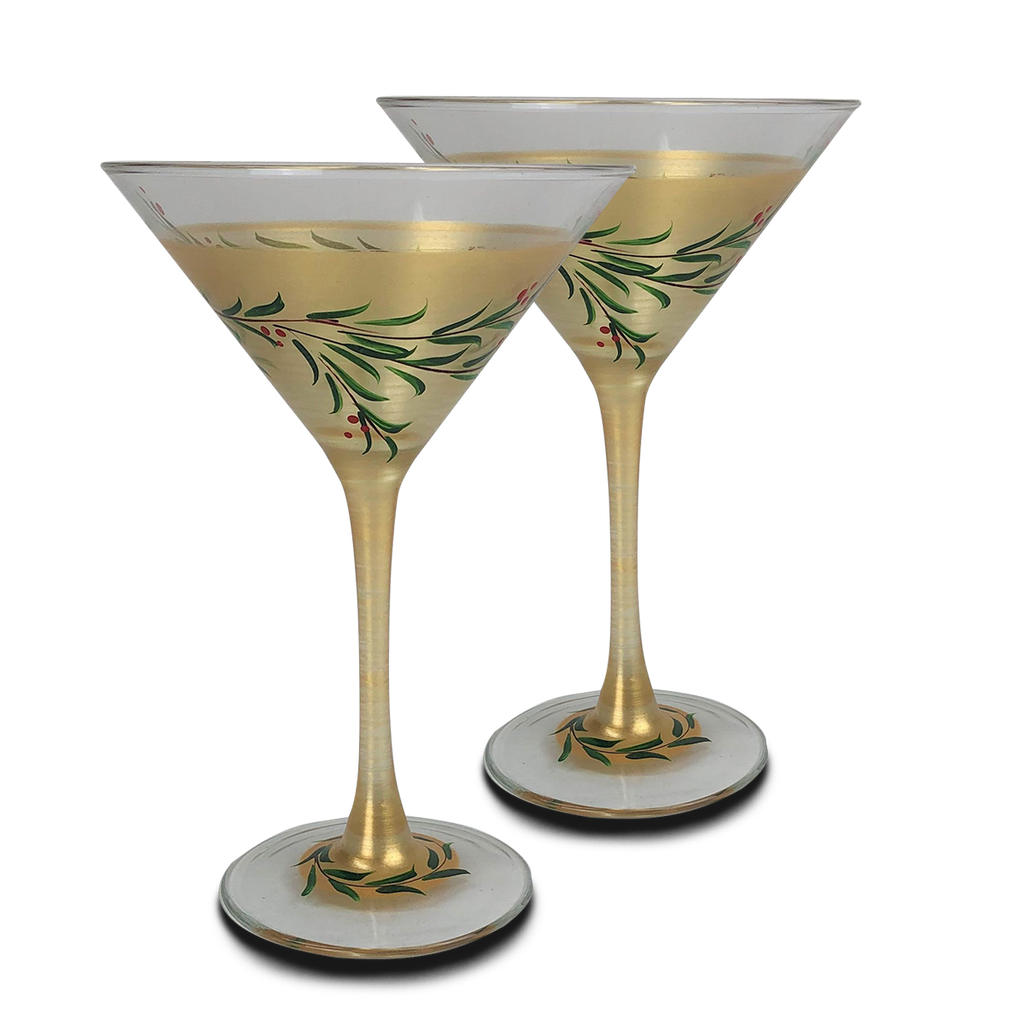 Christmas Gold Garland Martini S/2 - Golden Hill Studio