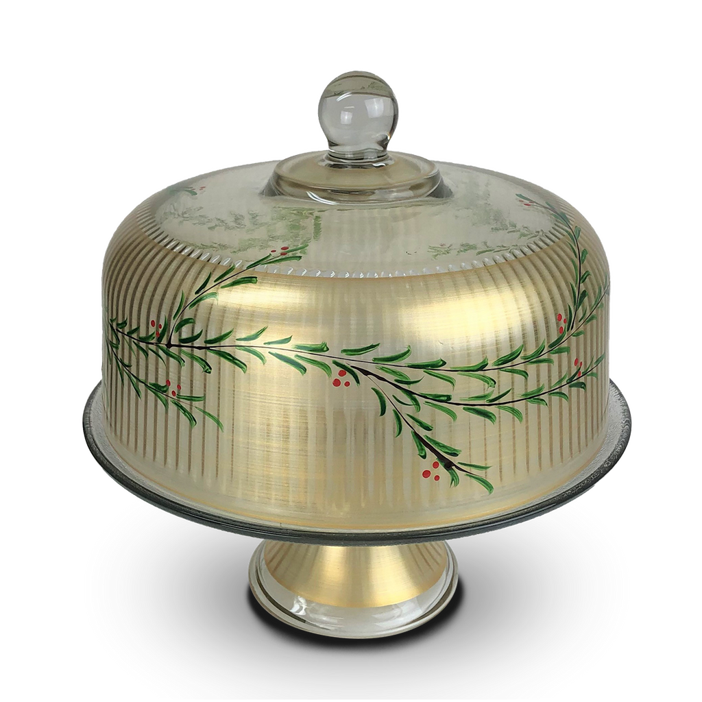 Winter Gold Garland Cake Dome - Golden Hill Studio