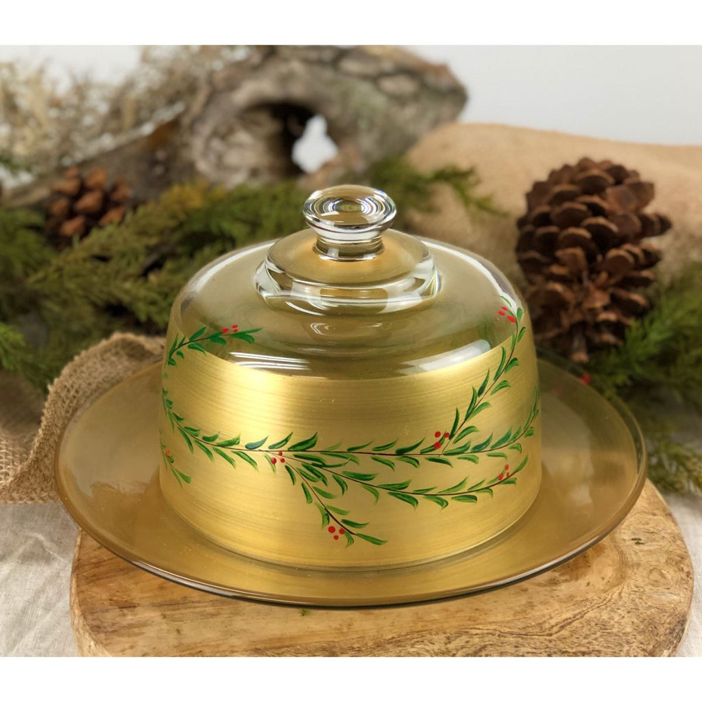 Winter Gold Garland Cheese Dome - Golden Hill Studio