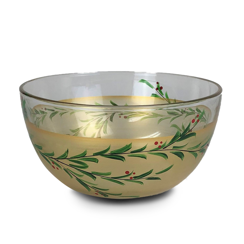 "Winter Gold Garland Love 6"" Bowl - Golden Hill Studio"