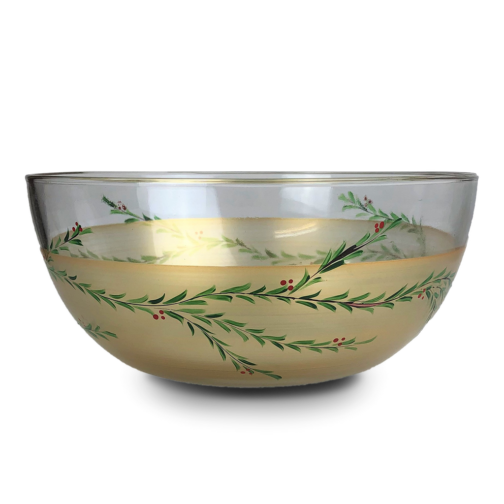 "Winter Gold Garland 11"" Bowl - Golden Hill Studio"