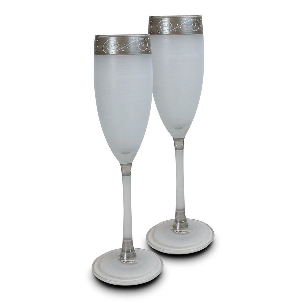 Heirloom White/Pewter Swirl Champagne   Set of 2 - Golden Hill Studio
