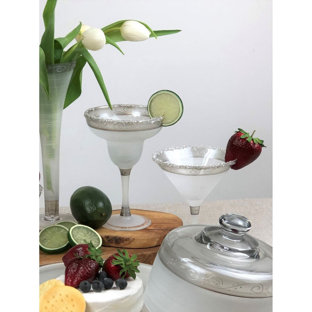 Heirloom White/Pewter Swirl Margarita   Set of 2 - Golden Hill Studio