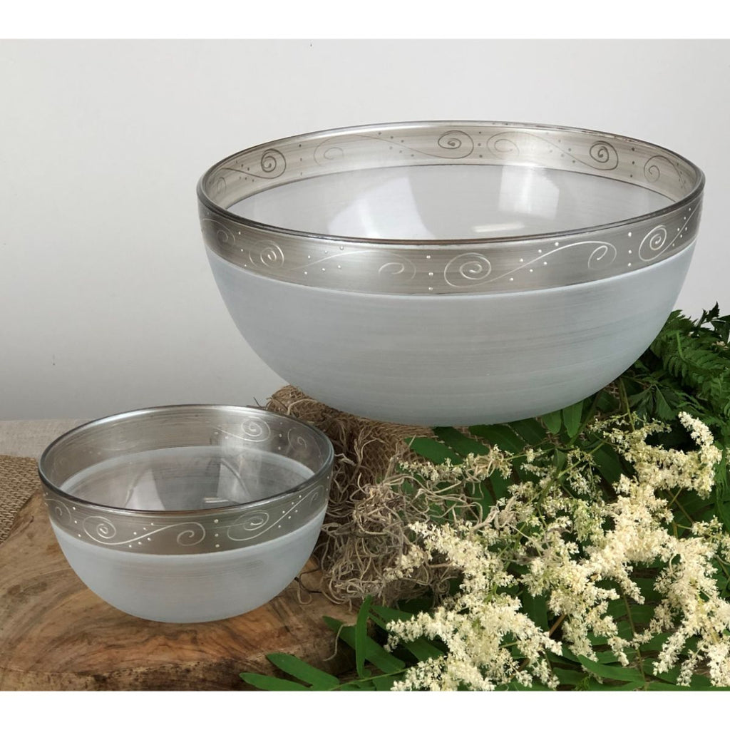 Heirloom White/Pewter Swirl 6' Bowl - Golden Hill Studio
