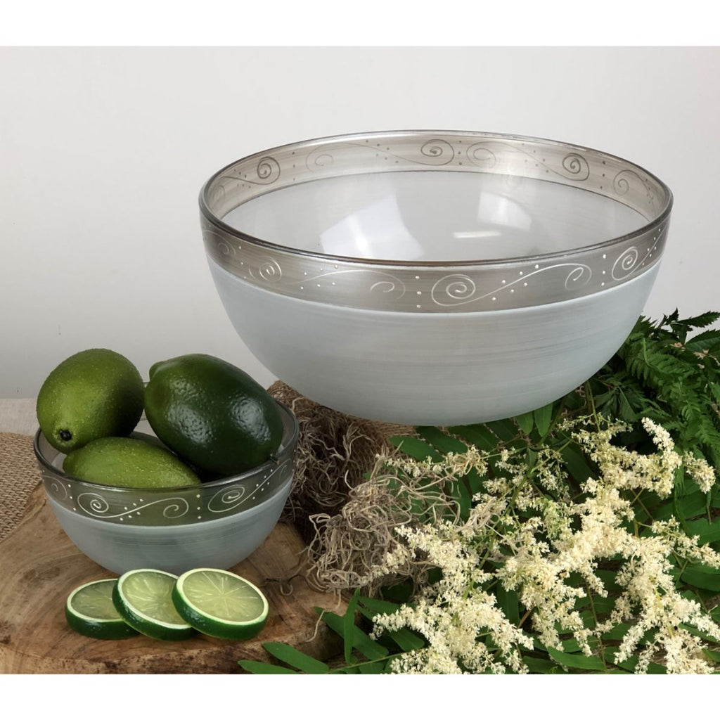 "Heirloom White/Pewter Swirl 11"" Bowl - Golden Hill Studio"