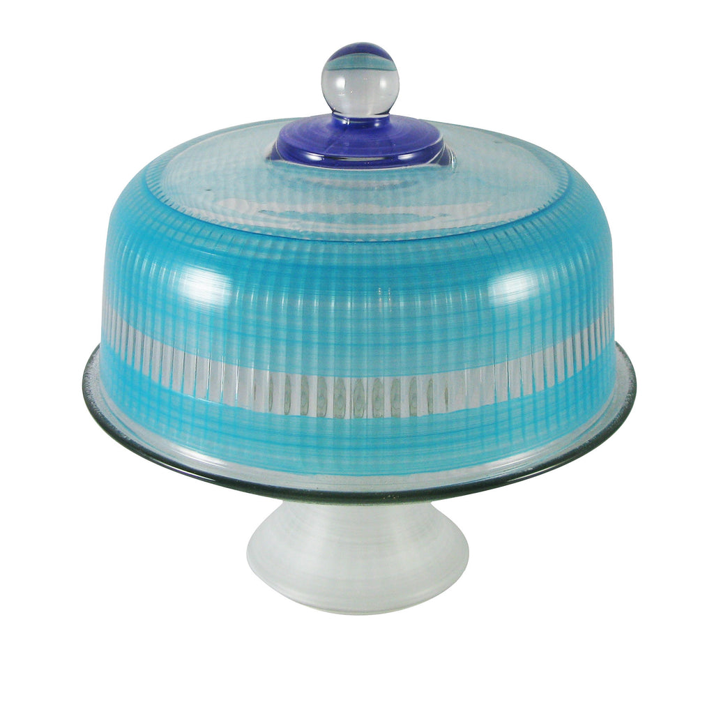 Cape Cod Cottage Stripe Blue Cake Dome - Golden Hill Studio
