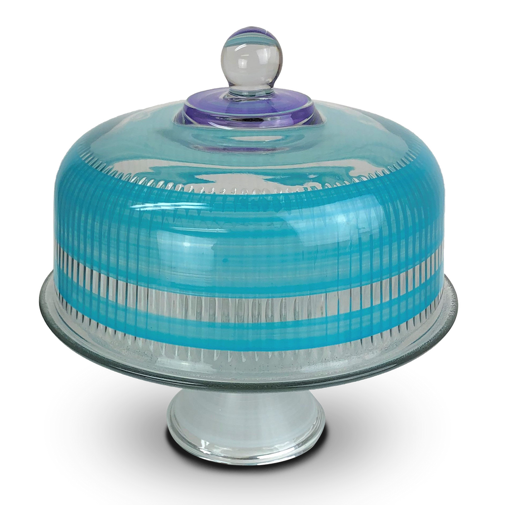 Cape Cod Cottage Stripe Turquoise Cake Dome - Golden Hill Studio