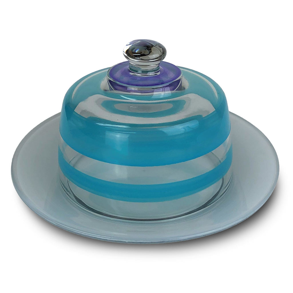 Cape Cod Cottage Stripe Turquoise Cheese Dome - Golden Hill Studio