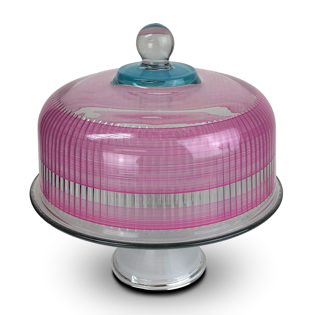 Cape Cod Cottage Stripe Pink Cake Dome - Golden Hill Studio