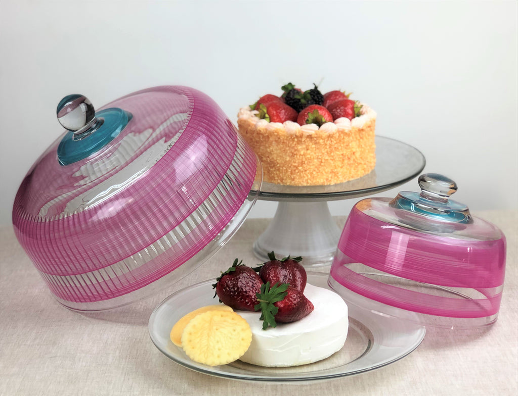 Cape Cod Cottage Stripe Pink Cheese Dome - Golden Hill Studio