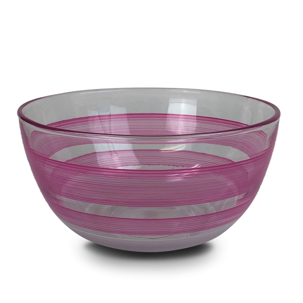 "Cape Cod Cottage Stripe Pink 6"" Bowl - Golden Hill Studio"