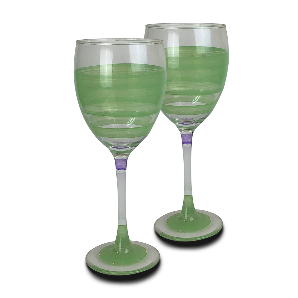 Cape Cod Cottage Stripe Green Wine   Set of 2 - Golden Hill Studio