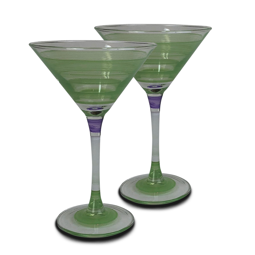 Cape Cod Cottage Stripe Green Martini   Set of 2 - Golden Hill Studio