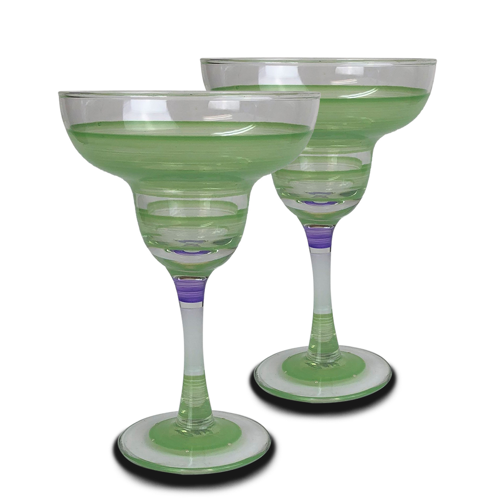 Cape Cod Cottage Stripe Green Margarita   Set of 2 - Golden Hill Studio