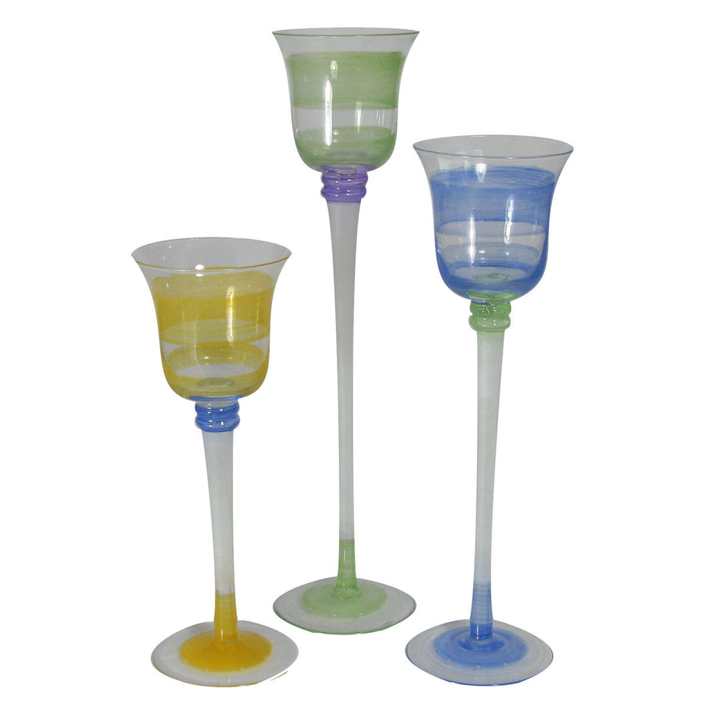 Retro Stripe Green Candlesticks S/3
