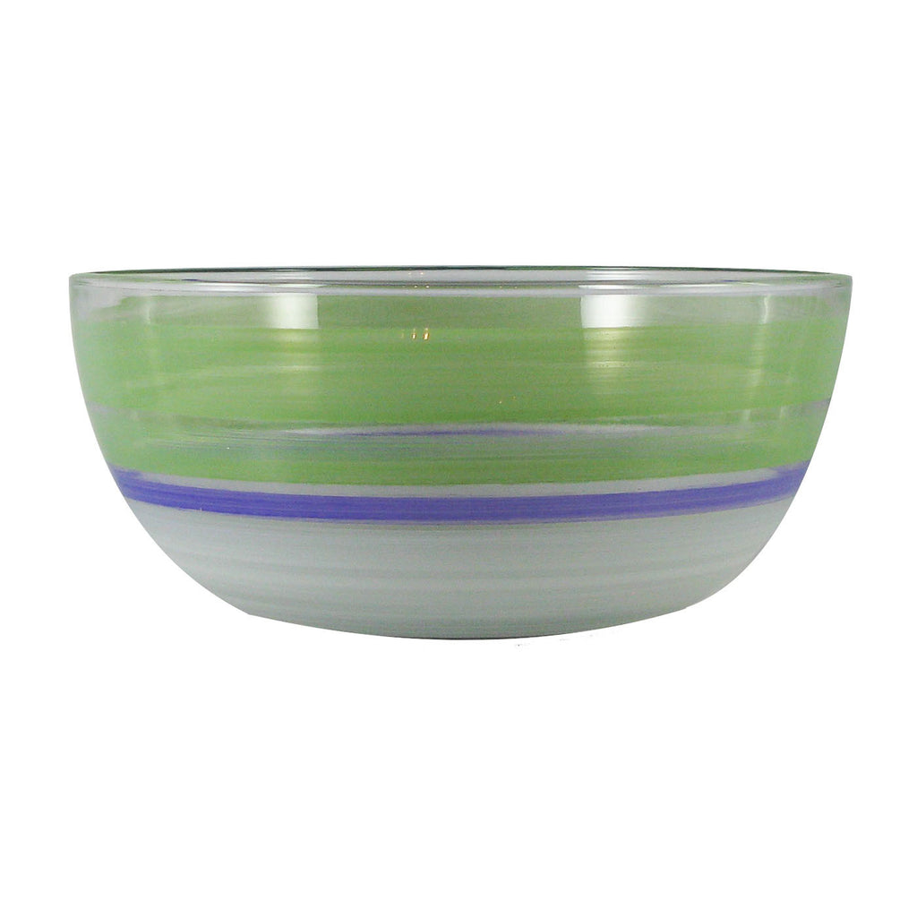 "Cape Cod Cottage Stripe Green 11""Bowl - Golden Hill Studio"