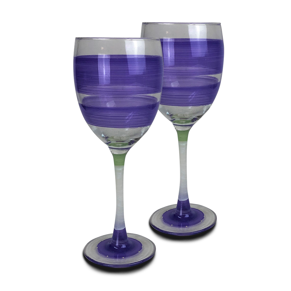 Cape Cod Cottage Stripe Purple Wine   Set of 2 - Golden Hill Studio