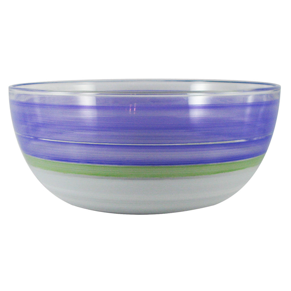 "Cape Cod Cottage Stripe Purple 11"" Bowl - Golden Hill Studio"