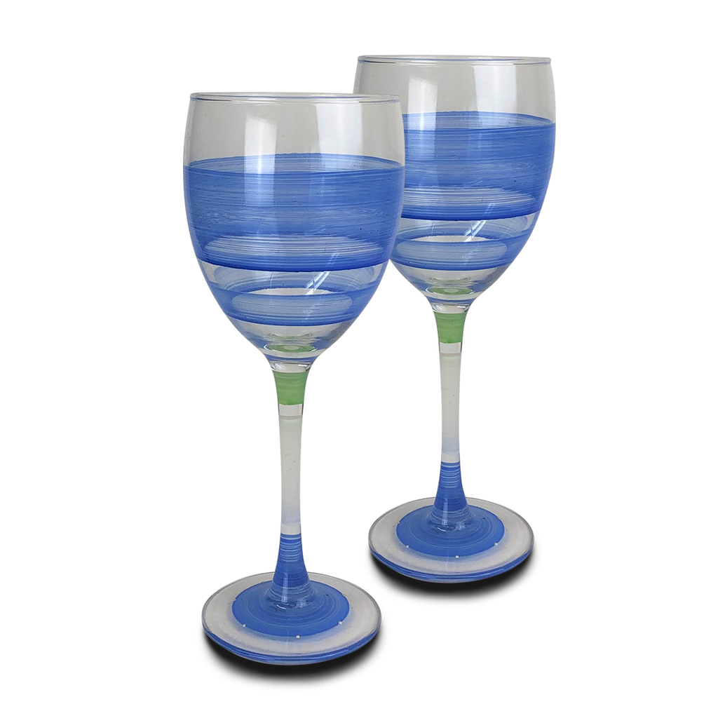 Cape Cod Cottage Stripe Blue Wine   Set of 2 - Golden Hill Studio
