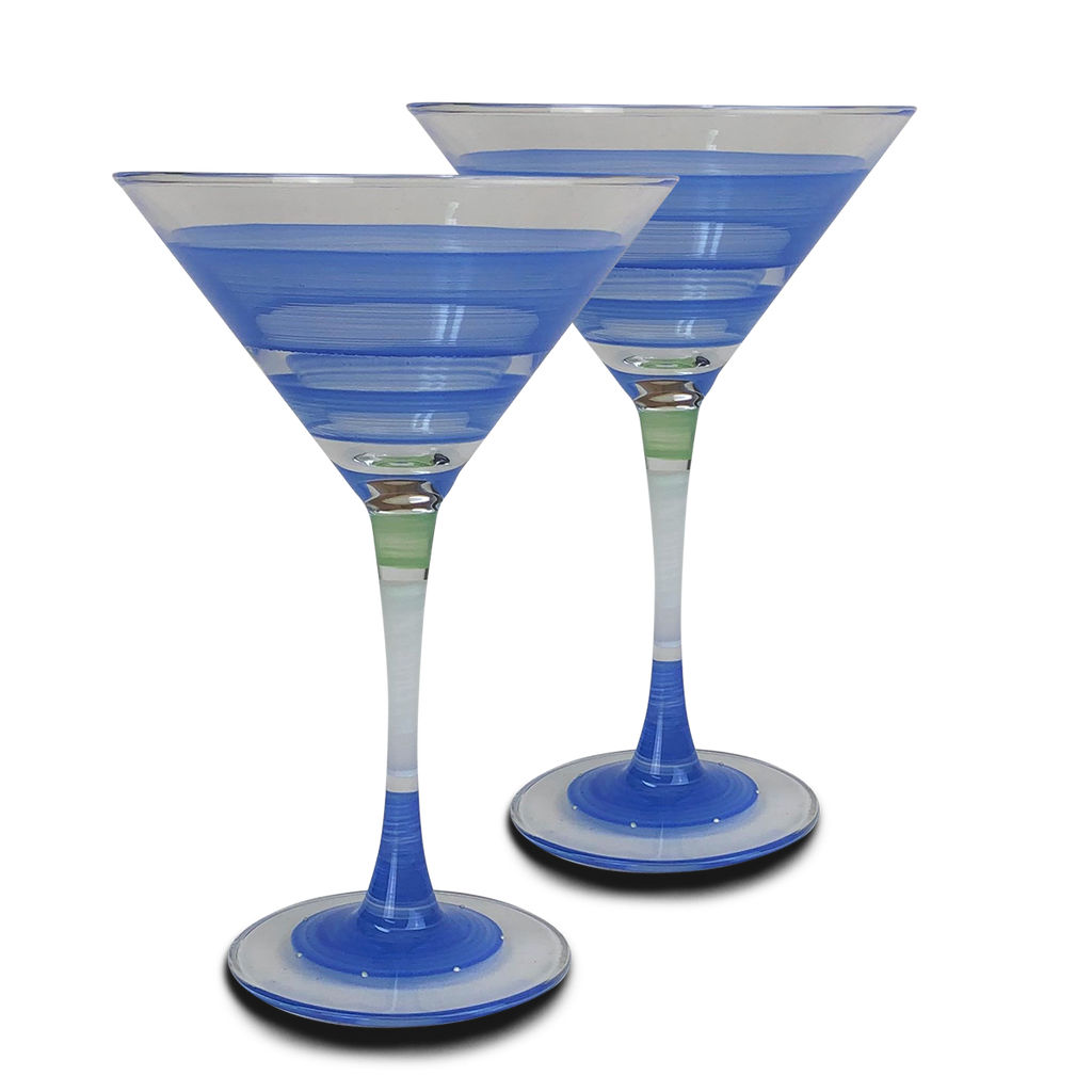 Cape Cod Cottage Stripe Blue Martini   Set of 2 - Golden Hill Studio