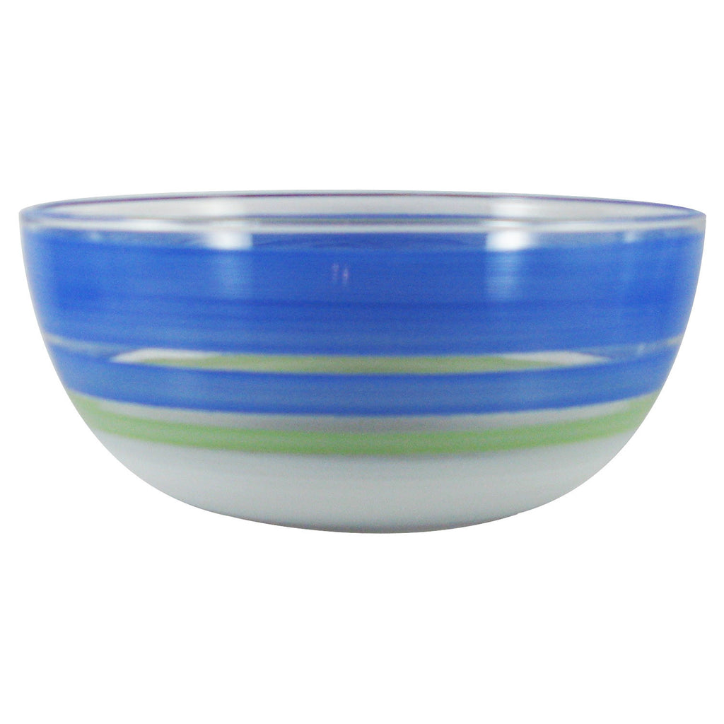 "Cape Cod Cottage Stripe Blue 11"" Bowl - Golden Hill Studio"