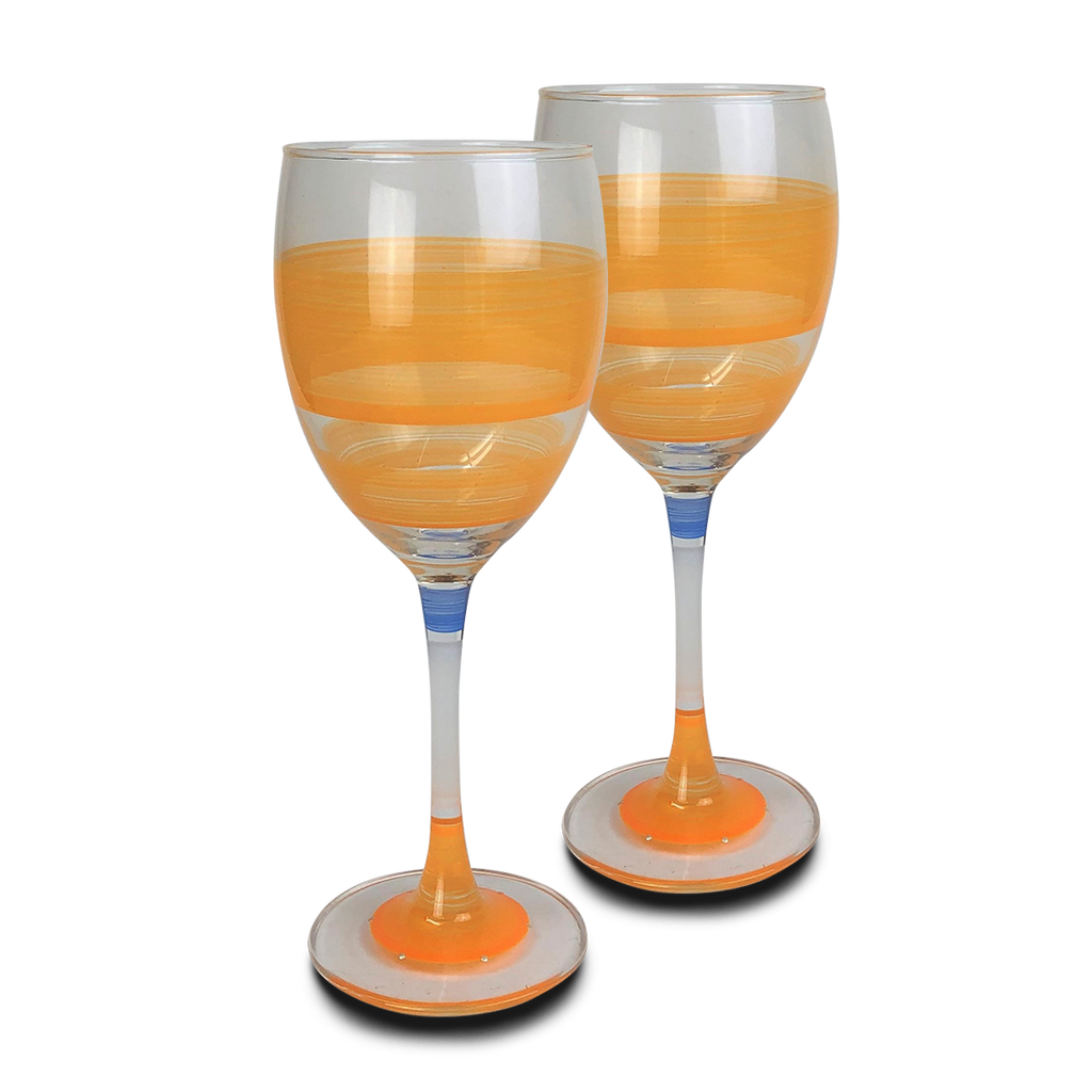 Cape Cod Cottage Stripe Orange Wine   Set of 2 - Golden Hill Studio