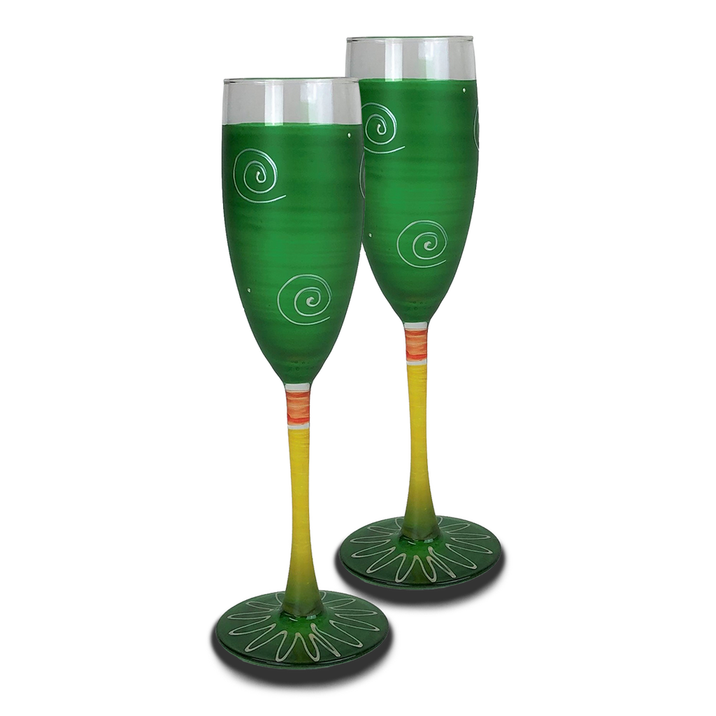 Peruvian Splendor Dk Green Champagne   Set of 2 - Golden Hill Studio