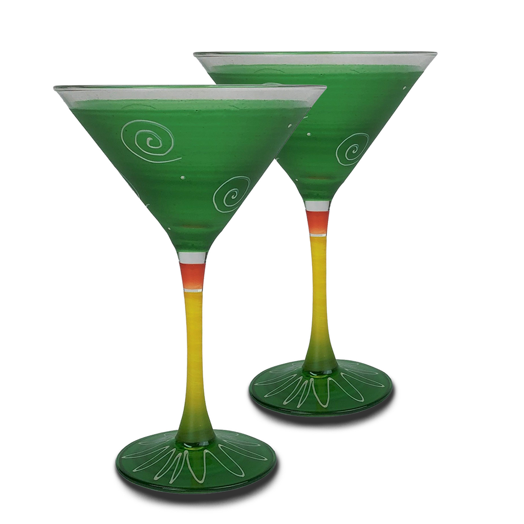 Peruvian Splendor Dk Green Martini   Set of 2