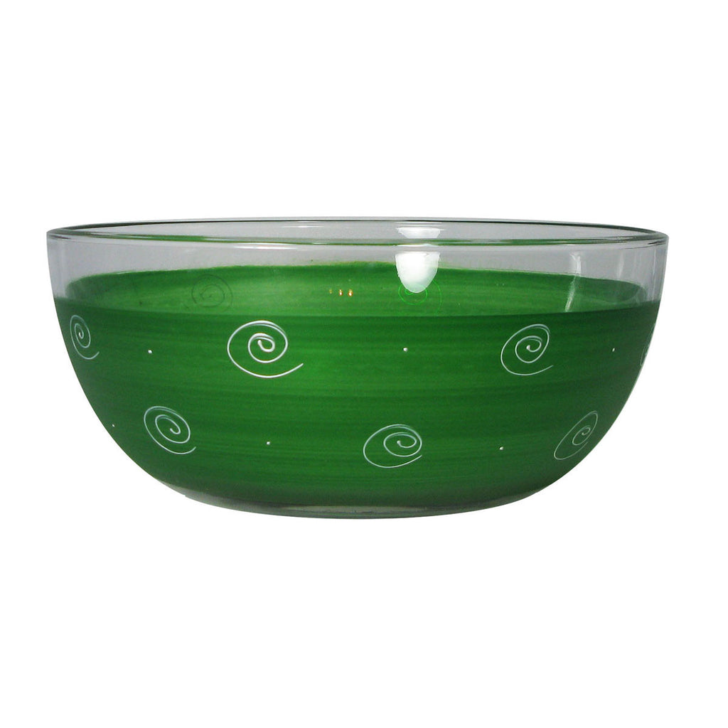 "Frosted Curl/Dot Dk Green 11"" Bowl - Golden Hill Studio"