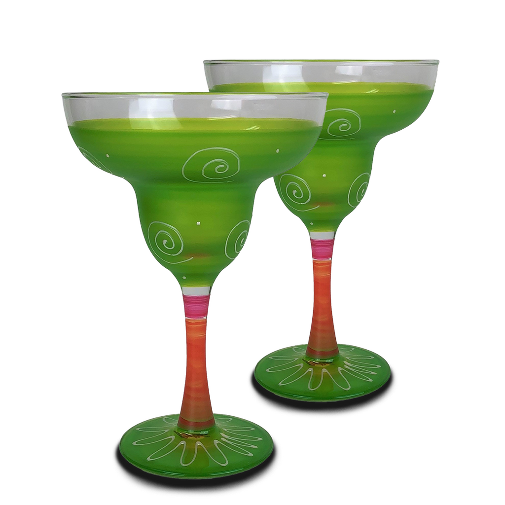 Peruvian Splendor Lt Green Margarita   Set of 2 - Golden Hill Studio