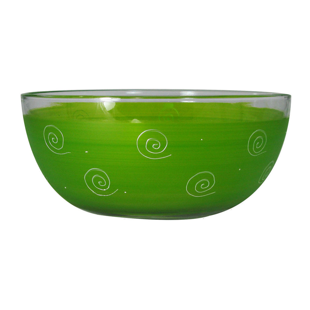 Frosted Curl/Dot Lt Green 11' Bowl - Golden Hill Studio