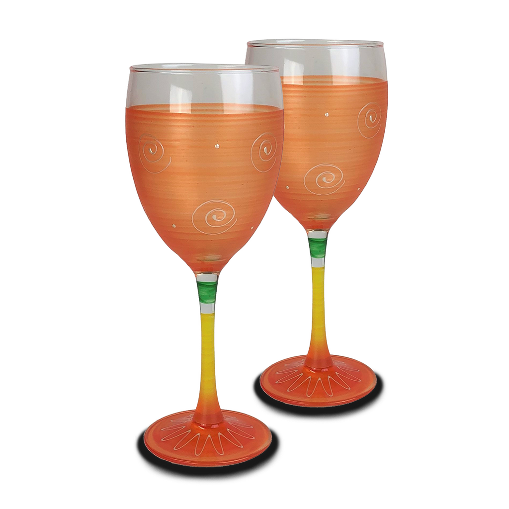 Peruvian Splendor Orange Wine   Set of 2 - Golden Hill Studio