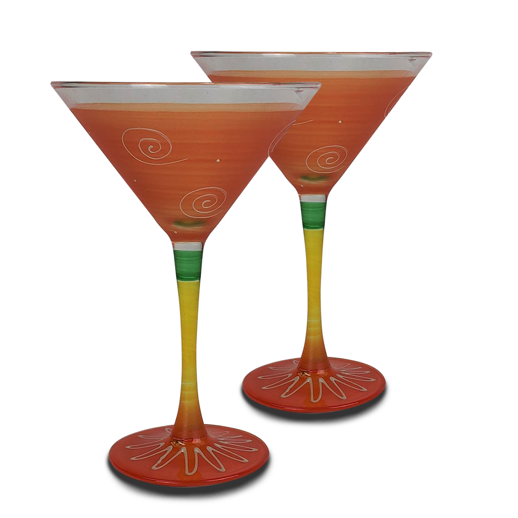 Peruvian Splendor Orange Martini   Set of 2 - Golden Hill Studio