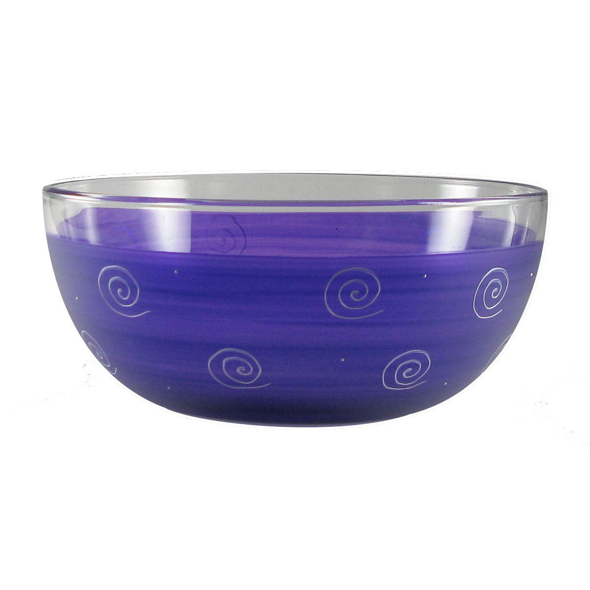 "Frosted Curl/Dot Purple 11"" Bowl - Golden Hill Studio"
