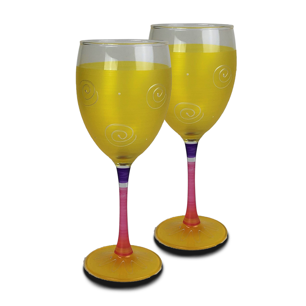 Peruvian Splendor Yellow Wine   Set of 2 - Golden Hill Studio