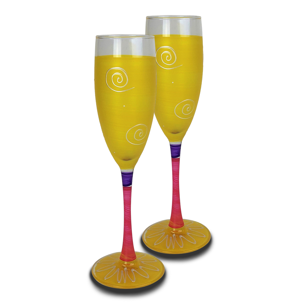 Peruvian Splendor Yellow Champagne   Set of 2 - Golden Hill Studio