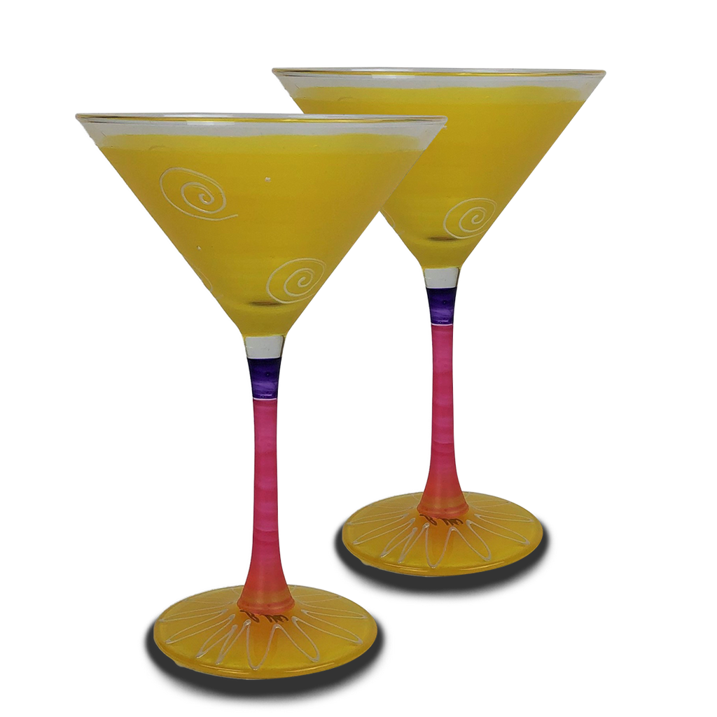 Peruvian Splendor Yellow Martini   Set of 2 - Golden Hill Studio