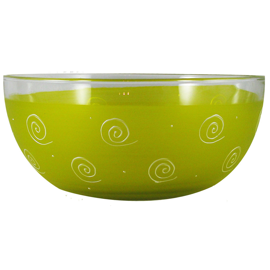 "Frosted Curl/Dot Yellow 11"" Bowl - Golden Hill Studio"