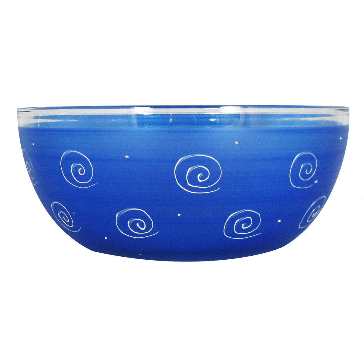 "Frosted Curl/Dot Dk Blue 11"" Bowl - Golden Hill Studio"