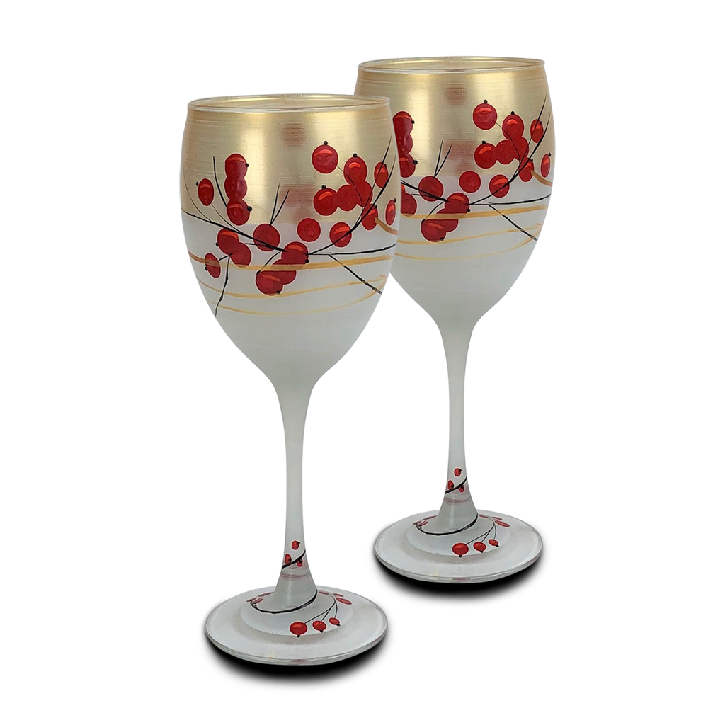 Winter Berries 'n Branches Wine   S/2 - Golden Hill Studio