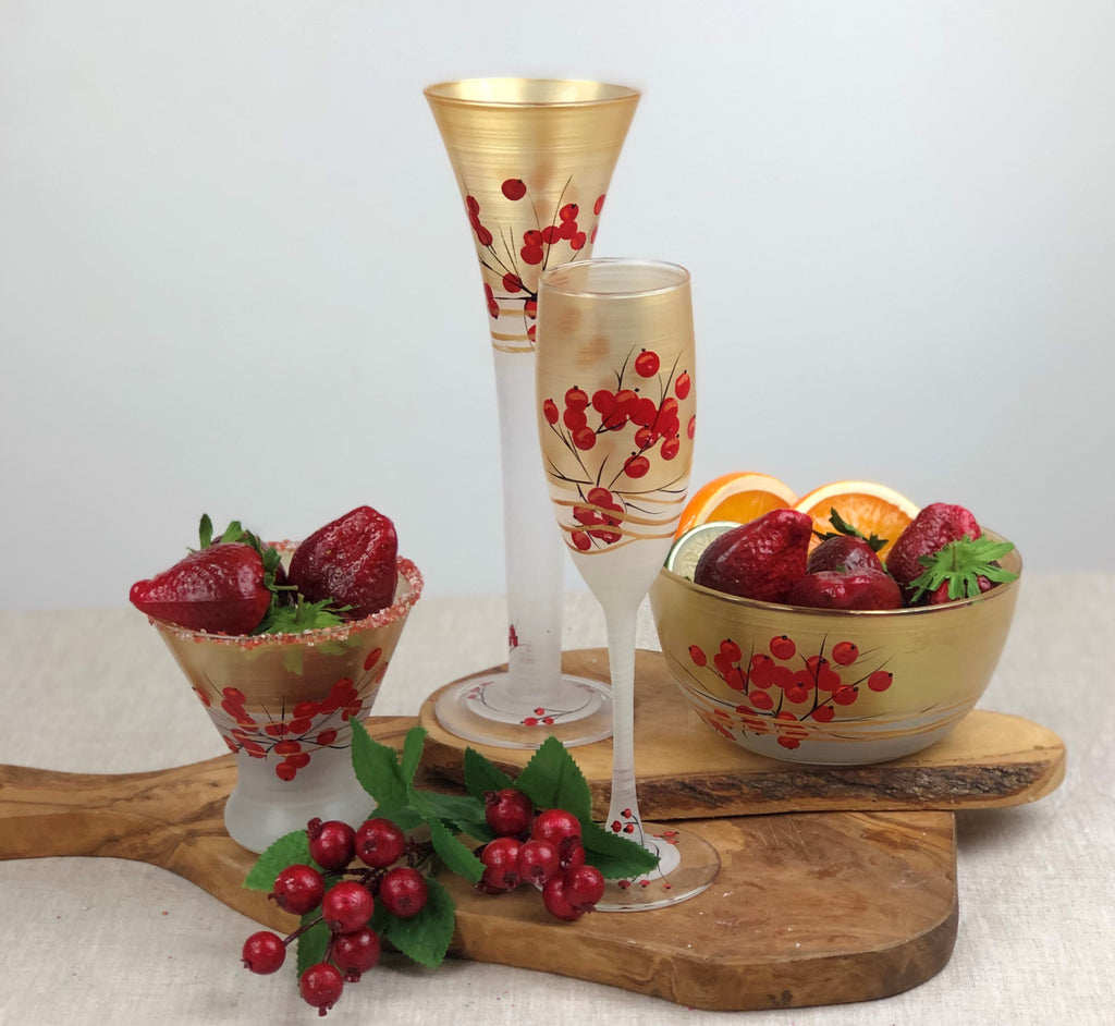 Winter Berries 'n Branches Champagne   S/2 - Golden Hill Studio