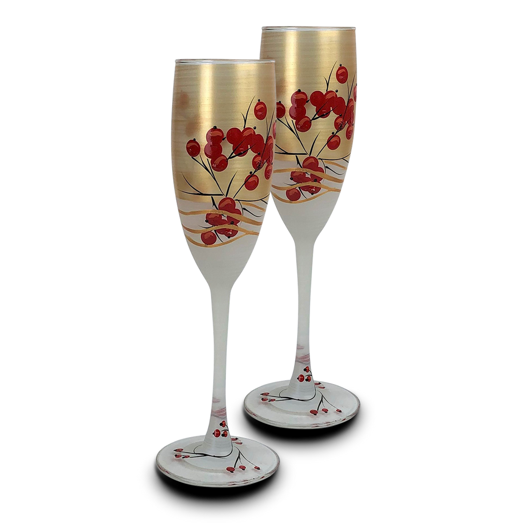 Winter Berries 'n Branches Champagne   S/2