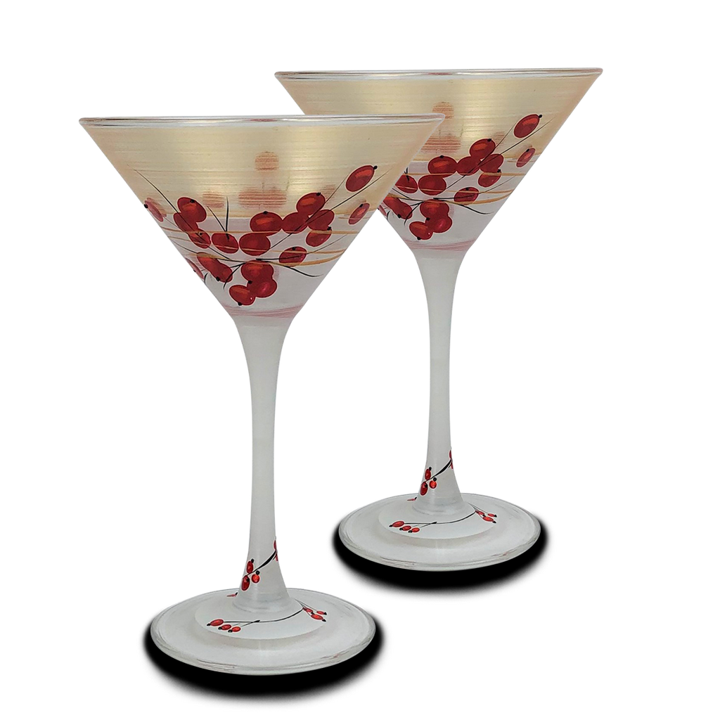Winter Berries 'n Branches Martini   S/2 - Golden Hill Studio