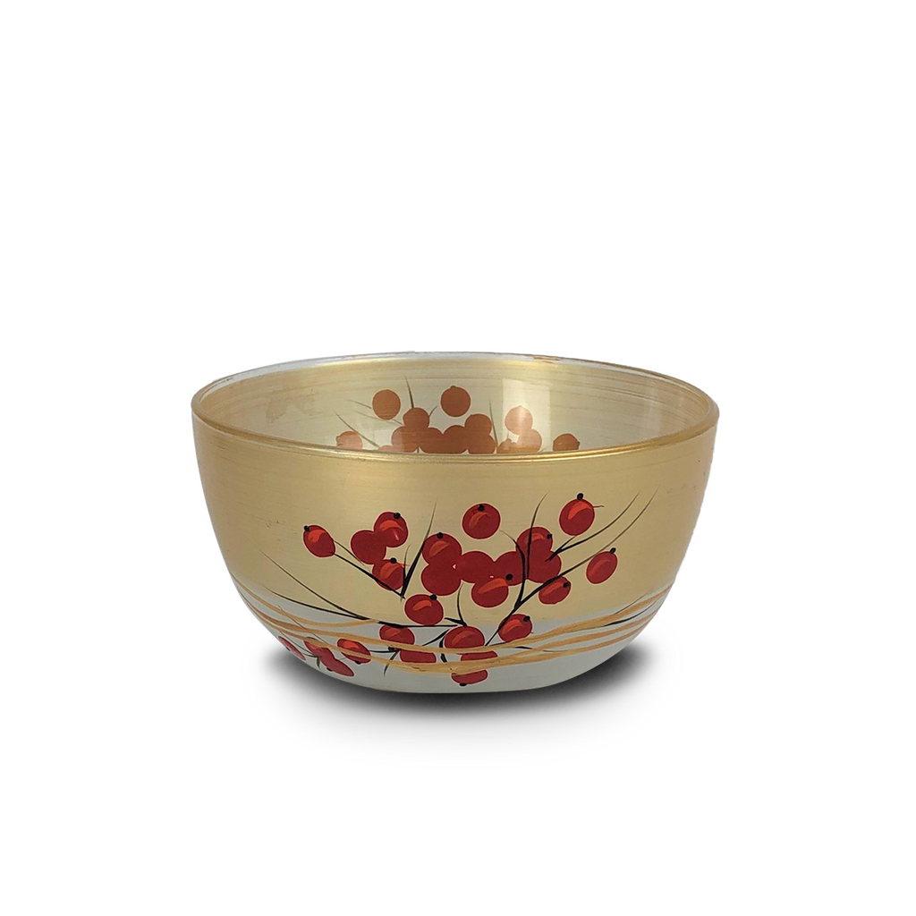 "Winter Berries 'n Branches 6"" Bowl - Golden Hill Studio"