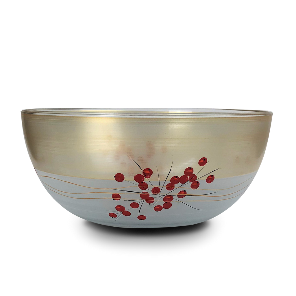 "Winter Berries 'n Branches 11"" Bowl - Golden Hill Studio"