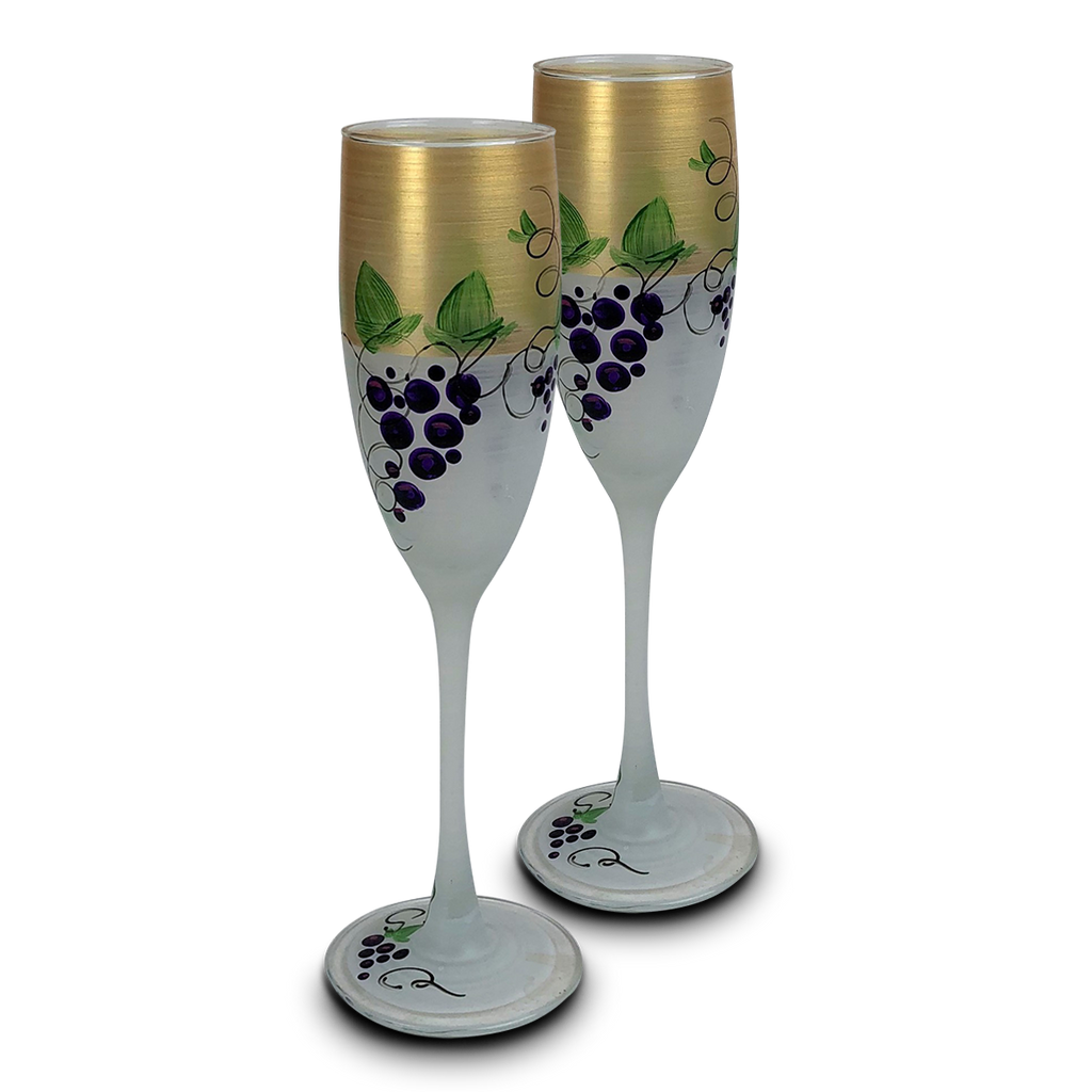 Napa Grapes n' Vines Champagne   Set of 2 - Golden Hill Studio