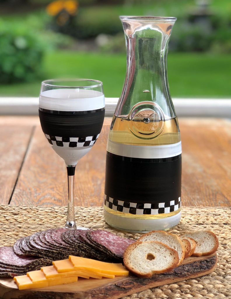 Black & White Checkered Wine S/2 - Golden Hill Studio