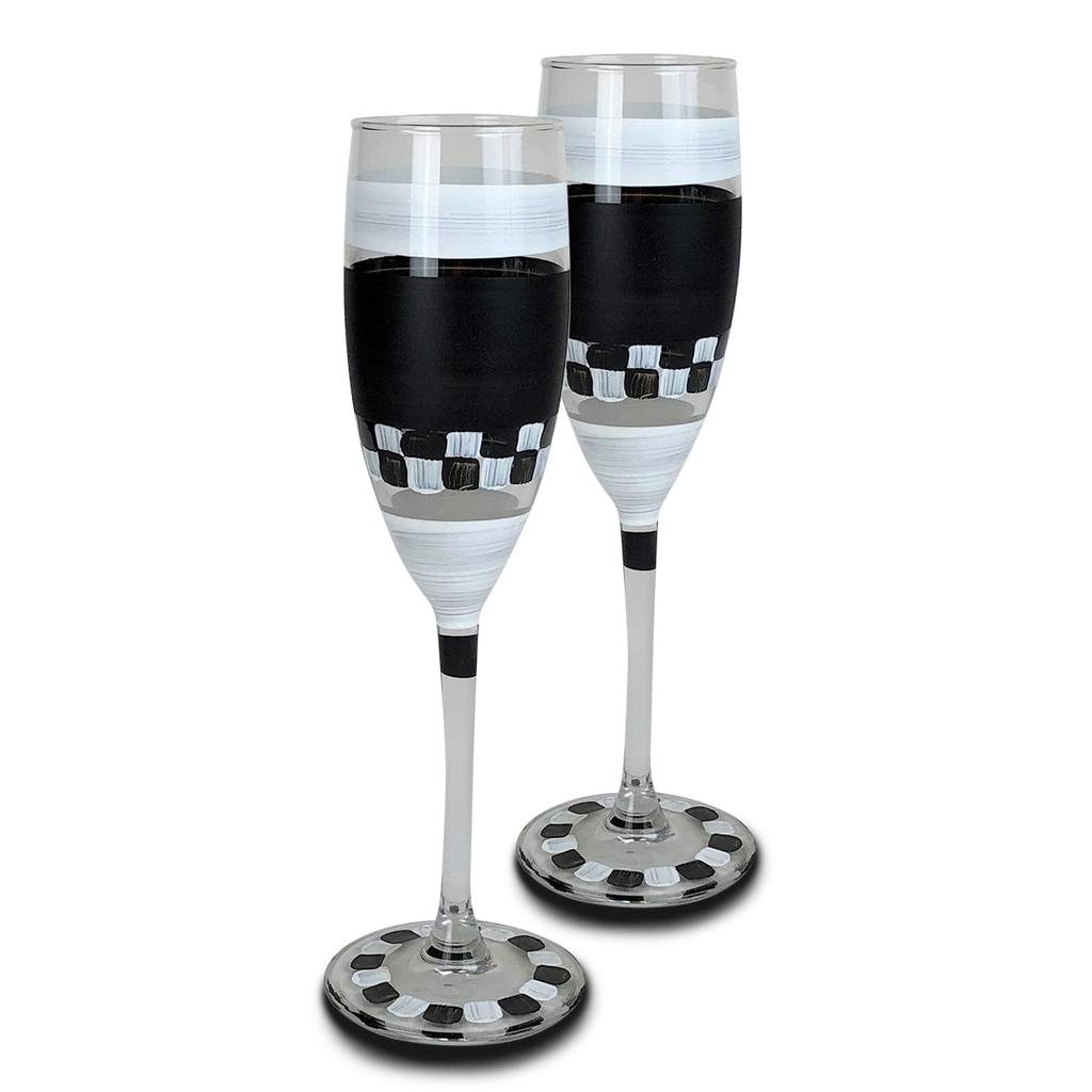 Black & White Checkered Champagne S/2 - Golden Hill Studio